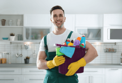 Too Much Competition, Man with Cleaning Supplies