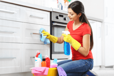 Too Much Competition, Woman Cleaning Cabinets
