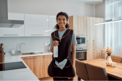 Too Much Competition, Woman Cleaning Kitchen