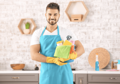 Are You Winging It With Your Money, House Cleaner Holding Supplies
