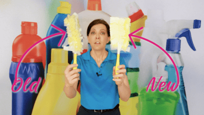 Wash and Recycle a Swiffer Duster, Angela Brown With Old and New Swiffer Dusters