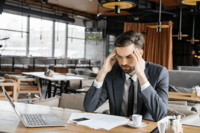 From Restaurant to Cleaning, Frustrated Man in Restaurant
