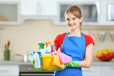Running Out of Supplies, House Cleaner Holding Caddy of Cleaning Supplies