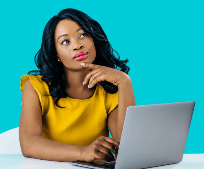 Becoming a Boss, Woman Thinking While at Computer