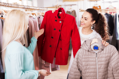 Living a Life of Wealth, Woman Buying Coats