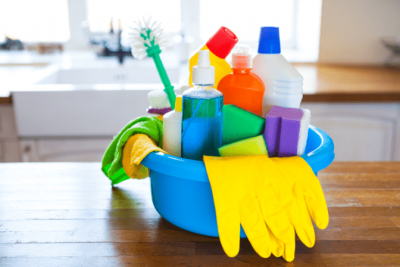 Organize Your Cleaning Car, Cleaning Supplies on Counter