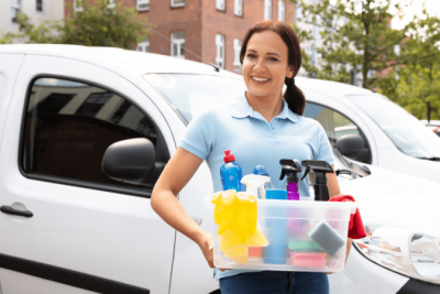 Organize Your Cleaning Car, Happy House Cleaner Outside