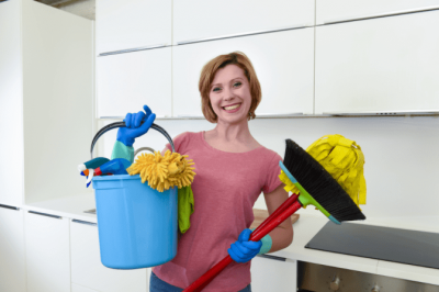 Organize Your Cleaning Car, Happy House Cleaner in Kitchen