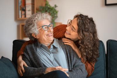 The Attitude of Gratitude, Woman Hugs Senior Woman