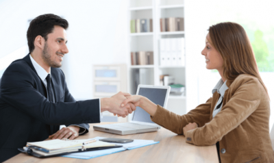 Trusted Advisors, Man Shaking Woman's Hand