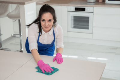 Charge for Light Housekeeping, House Cleaner Wiping Counters