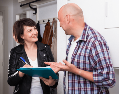 Customer Won't Pay, Woman With Clipboard Talks to Man