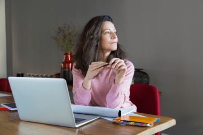 How Do I Stop Shopping, Woman on Computer Thinking