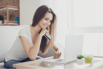 How Do I Stop Shopping, Woman with Credit Card on Computer
