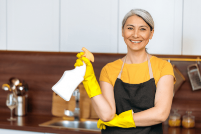 How Soon Can I Hire, Happy House Cleaner in Kitchen