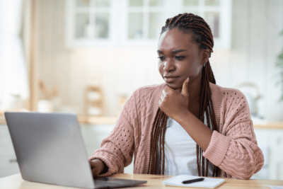 How Soon Can I Hire, Woman on Computer Thinking