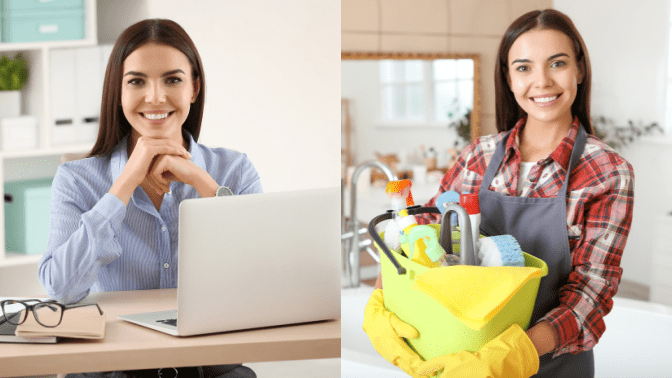 Local Cleaning Company, Woman on Computer and With Cleaning Supplies
