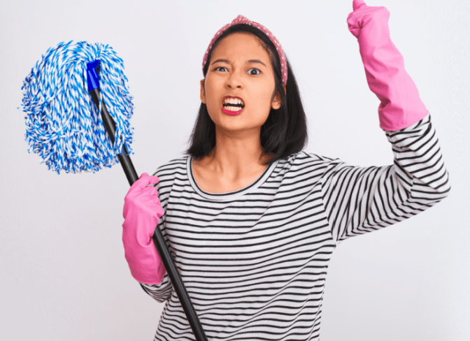 Talk To Your House Cleaner, Angry Woman With Mop