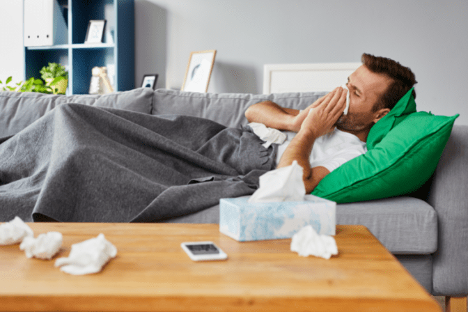 World's Greatest Cancellation Policy, Sick Man on Couch