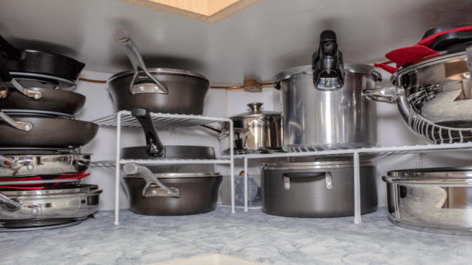 Non-Pinterest Pantry, Stacked Pots and Pans