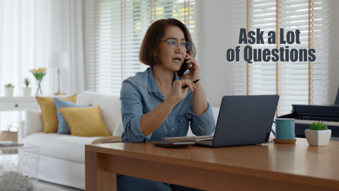 House Cleaning to Country Club Cleaning Woman on Phone, Ask a Lot of Questions